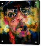 Portrait Of A Man In Sunglass Smoking A Cigar In The Sunshine Wearing A Hat And Riding A Motorcycle In Pink Green Yellow Black Blue Oil Paint With Raking Light To Pick Up Paint Texture Acrylic Print