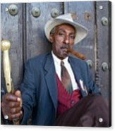 Portrait Of A Man Wearing A 1930s-style Suit And Smoking A Cigar In Havana Acrylic Print