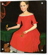 Portrait Of A Winsome Young Girl In Red With Green Slippers Dog And Bird Acrylic Print