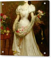 Portrait Of A Woman And Her Greyhound Acrylic Print by English School