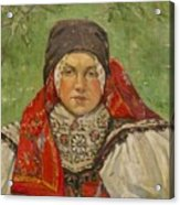 Portrait Of A Woman In A Red Scarf Acrylic Print