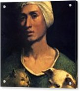Portrait Of A Young Man With A Dog And A Cat Acrylic Print