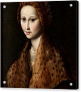 Portrait Of A Young Woman Wearing A Robe With A Fur Collar Acrylic Print