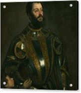 Portrait Of Alfonso D'avalon -  Marquis Of Vasto - In Armor With A Page Acrylic Print