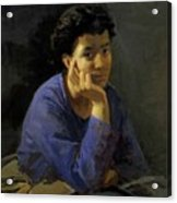 Portrait Of An Unknown Woman In A Blue Blouse Acrylic Print