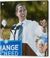 Portrait Of Barack Obama The Change We Need Acrylic Print by Christopher Oakley