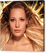 Portrait Of Beautiful Woman Face With Glowing Golden Blond Hair Acrylic Print