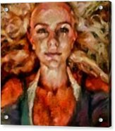 Portrait Of Female With Hair Billowing Everywhere In Radiant Unsmiling Sharp Features Golden Warm Colors And Upturned Nose Curls And Aliens Of The Departure Acrylic Print