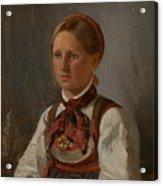Portrait Of Gunild Olsdatter From Tinn Acrylic Print