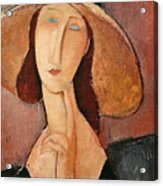 Portrait Of Jeanne Hebuterne In A Large Hat Acrylic Print by Amedeo Modigliani