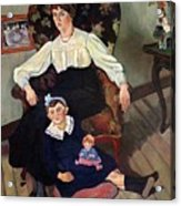 Portrait Of Marie Coca And Her Daughter Acrylic Print by Marie Clementine Valadon