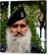 Portrait Of Pakistani Security Guard With Flowing White Beard Karachi Pakistan Acrylic Print