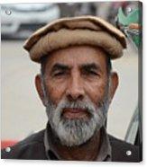 Portrait Of Pathan Tuk Tuk Rickshaw Driver Peshawar Pakistan Acrylic Print