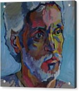Portrait Of Paulinho - Guitarist-singer In Progress Acrylic Print by Piotr Antonow