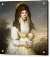 Portrait Of Queen Charlotte Three-quarter Length In A White Dress A Yellow Shawl And Black Mantilla Holding A Maltese Dog Sir Henry William Beechey Acrylic Print