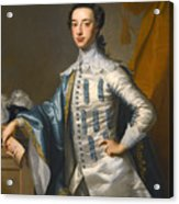 Portrait Of Sir James Lowther 1st Earl Of Lonsdale Three Quarter Length Holding A Mask In His Right  Acrylic Print
