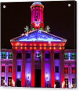 Portrait Of The Denver City And County Building During The Holidays Acrylic Print