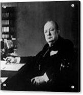Portrait Of Winston Churchill  Acrylic Print