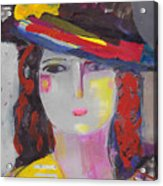 Portrait Of Woman With Vintage Hat Acrylic Print