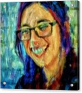 Portrait Painting In Acrylic Paint Of A Young Fresh Girl With Colorful Hair In A Library With Books  Acrylic Print