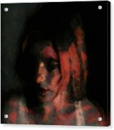 Portrait Painting Of Girl In Red Gray Black With Wistful Thoughts Of Fleeting Memories Acrylic Print