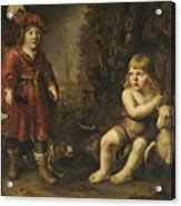 Portraits Of Two Boys In A Landscape One Dressed As A Hunter The Other St As John The Baptist Acrylic Print