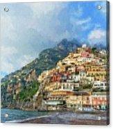 Positano Beach View Painting Acrylic Print