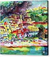 Amalfi Coast Positano Summer Fun Watercolor Painting Acrylic Print
