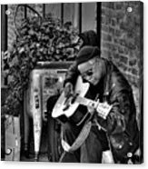 Post Alley Musician In Black And White Acrylic Print