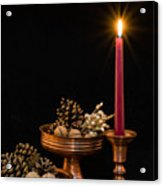 Post Card With Traditional Copper Dishes And Red Candle Acrylic Print