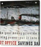 Post Office Savings Bank - Steamliner - Retro Travel Poster - Vintage Poster Acrylic Print