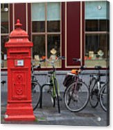 Postbox And Bicycles In Front Of The Diamond Museum In Bruges Acrylic Print
