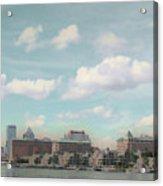 Postcard Look Of Tampa Skyline Acrylic Print