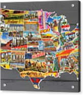 Postcards Of The United States Vintage Usa Lower 48 Map On Gray Wood Background Acrylic Print