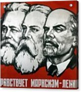 Poster Depicting Karl Marx Friedrich Engels And Lenin Acrylic Print