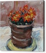 Pot Of Bee Dance Flowers Acrylic Print