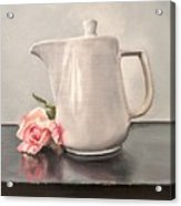 Pot Of Coffee And A Paper Rose Acrylic Print