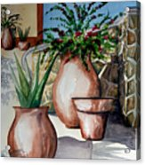 Pots And Bougainvillea Acrylic Print