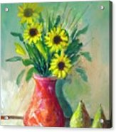 Pottery Vase And Flowers Acrylic Print