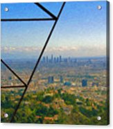 Power Lines Los Angeles Skyline Acrylic Print
