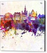 Poznan Skyline In Watercolor Background Acrylic Print