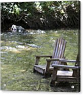 pr 165 - Chairs In The River Acrylic Print