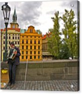 Prague Accordian Player On Charles Bridge Acrylic Print