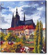 Prague Castle With The Vltava River Acrylic Print by Yuriy  Shevchuk