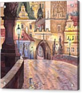 Prague Charles Bridge Night Light 1 Acrylic Print