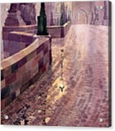 Prague Charles Bridge Night Light Acrylic Print