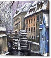 Prague Chertovka Winter Acrylic Print by Yuriy  Shevchuk