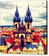 Prague Church Of Our Lady Before Tyn Watercolor Acrylic Print