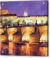 Prague Night Panorama Charles Bridge  Acrylic Print by Yuriy  Shevchuk