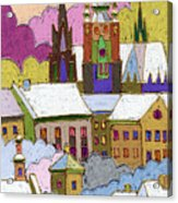 Prague Old Roofs Prague Castle Winter Acrylic Print